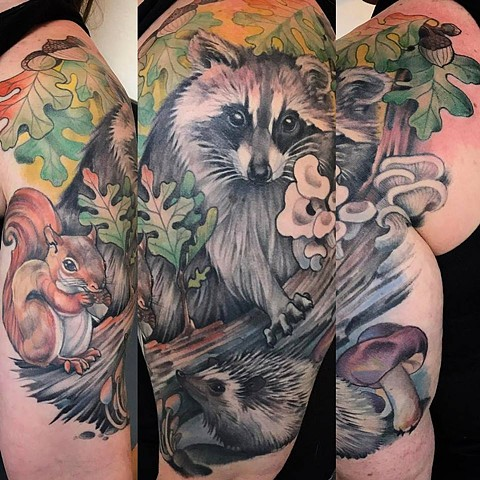 Racoon, Squirrel, & Hedgehog Half Sleeve Tatttoo