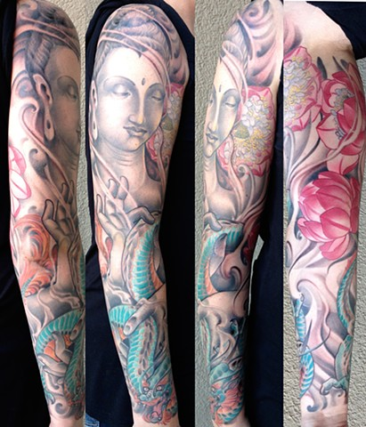 Buddah, Lotus, and Blue Dragon Tattoo Sleeve