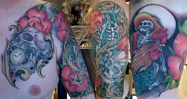 Day of the Dead Dog, Roses, Skulls, and Rooster Half Sleeve Tattoo