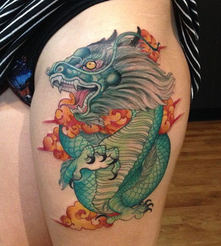 Chinese Dragon Thigh Tattoo