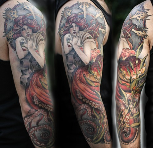 Mucha Style Octopus Lady 3/4 Sleeve Tattoo