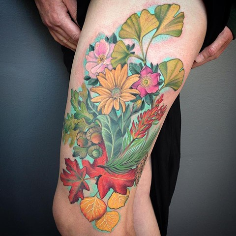 Nature Thigh Tattoo
