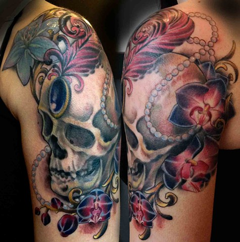Fancy Skull with Orchids