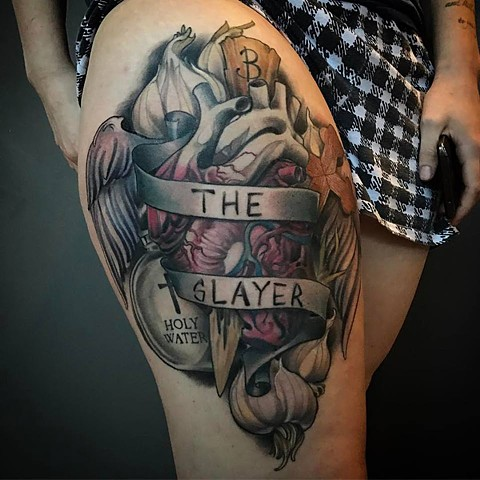 Buffy the Vampire Slayer tribute Thigh Tattoo