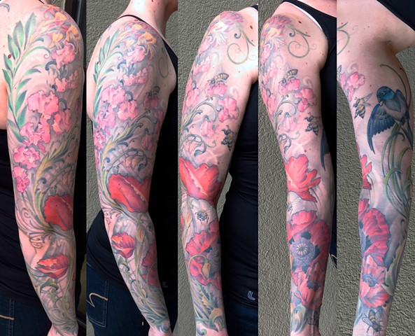 Poppies, Sweat Pea, and Honey Suckle, with Bees and Bird Full Sleeve Tattoo