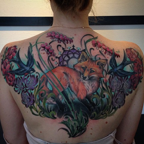 Fox and Bleeding Hearts Upper Back Tattoo