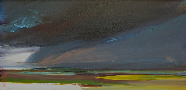 "Jo Brown, ""Tornado"" (2011) 8"" x 16"" oil on archival canvas board depicts tornado moving over Boston as seen from Cape Cod"