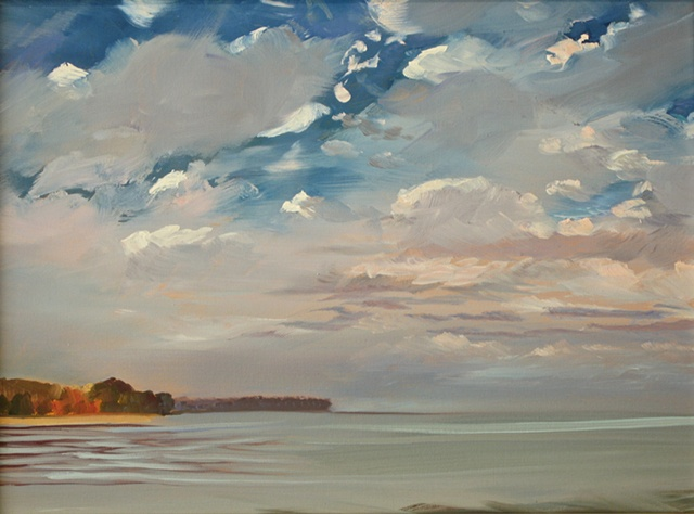 "Jo Brown, ""Mackerel Sky,"" view of Chesapeake in fall (2011), oil on archival canvas board"