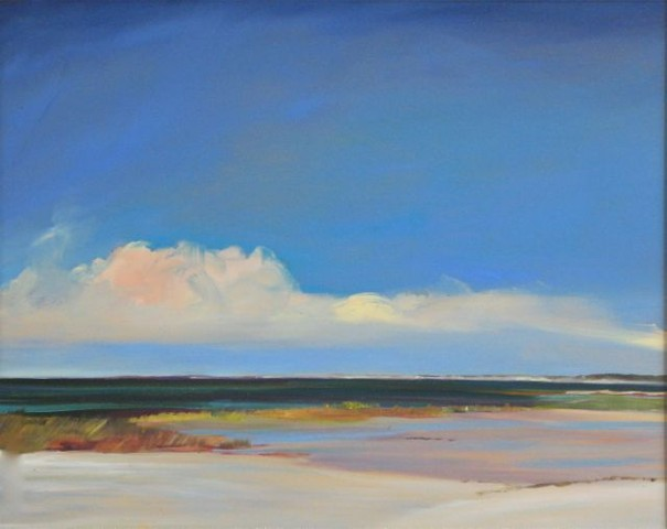 "Jo Brown, ""Big Pink Cloud,"" (copyright 2011), oil on archival canvas board, depicting Cape Cod Bay seascape, water view, low horizon, blue sky, luminist style"
