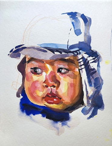 watercolor by Qing Song, Figure Painting by Qing Song, Portrait Painting by Qing Song