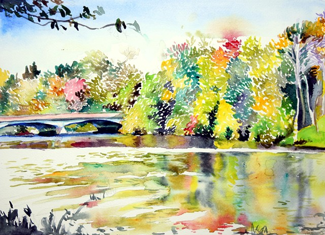 watercolor painting by Qing Song, landscape painting by Qing Song, painting by Qing Song