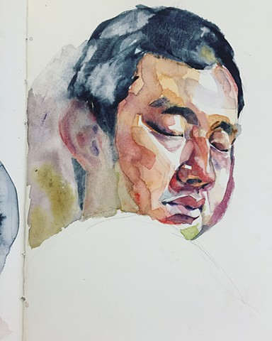 watercolor by Qing Song, drawing by Qing Song, art by Qing Song, Sketch by Qing Song