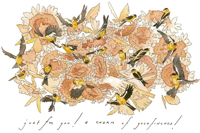 Just For You! A Charm of Goldfinches!