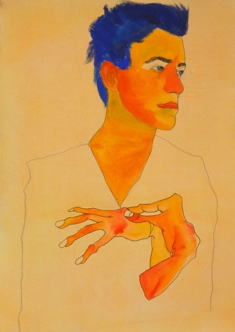 Self-Portrait in Famous Artwork-Egon Schiele- Figure Drawing