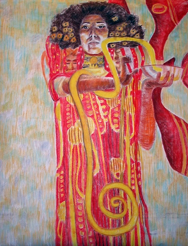 Self-Portrait in Famous Artwork- Gustave Klimt- Figure Drawing