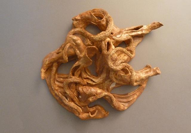 tree roots ceramic wall piece