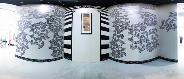"""Cardboard Revival: South Bay Galleria, Redondo Beach"" 360 degree view of installation interior as panorama"