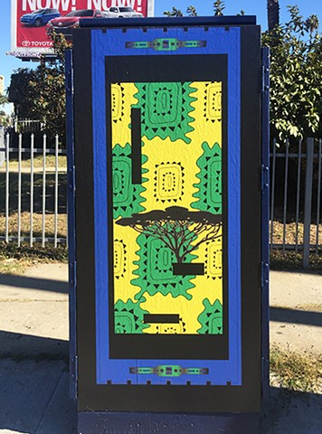 Utility box on Washington Blvd at Vineyard Ave:  West side/African culture