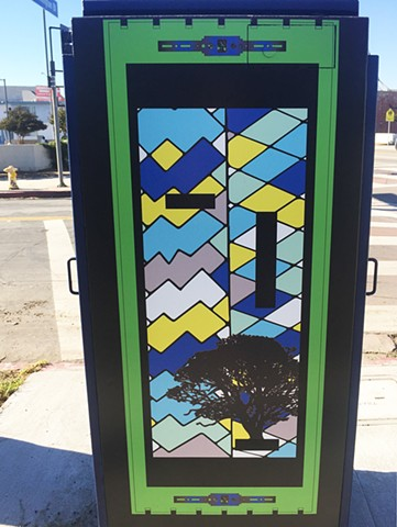 Utility box on Washington Blvd at Vineyard Ave:  East side/Indigenous culture