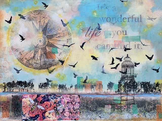 Mixed media surreal landscape depicting birds freed from antique birdcage. Bees and flowers appear with tree line along the bottom.