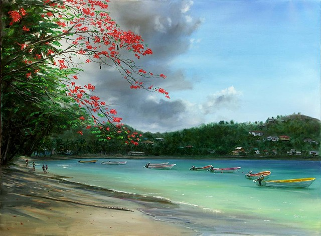 15. Laborie Bay with Flamboyant Tree