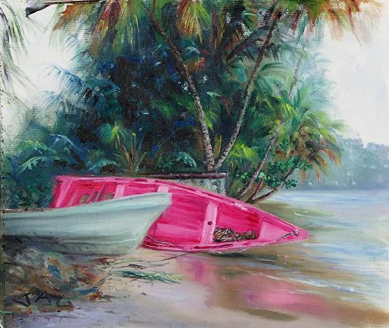 Pink Boat On Side