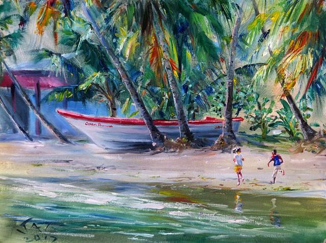 Running Children with Boat
