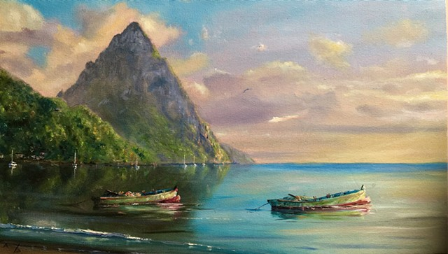 Petit Piton w/ Two Gommier Boats