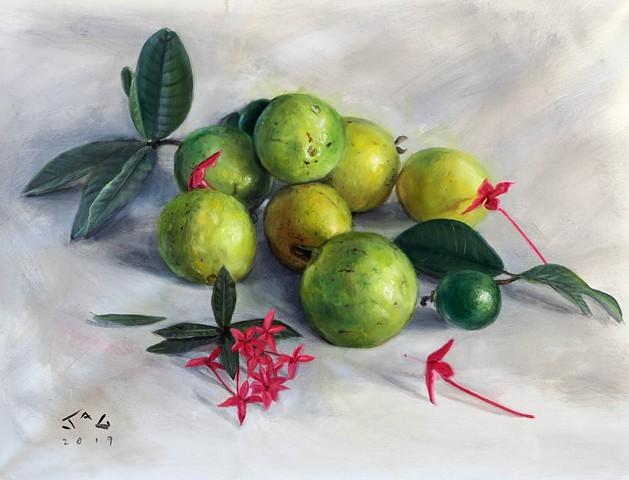 Guavas and ixora- large