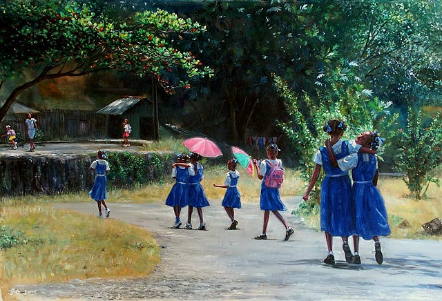 26. Pink Umbrellas and Blue Uniforms