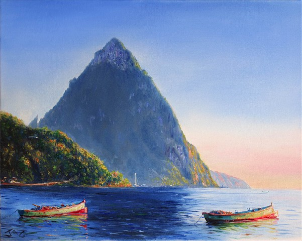 Petit Piton with 2 Gommier Boats #2