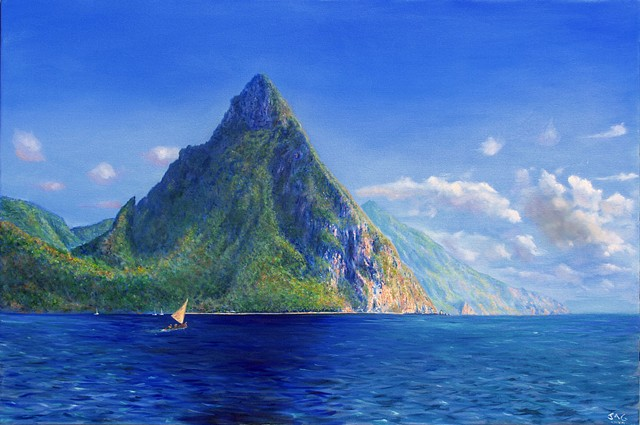 Pitons with Sailboat