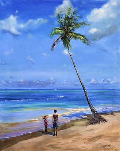 Children by Coconut Tree
