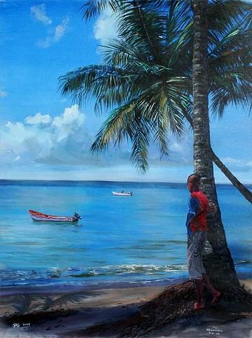 Boy Beside Coconut Palm