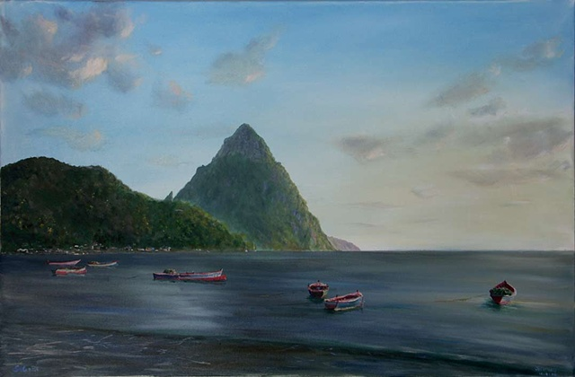 Petiti Piton with Boats
