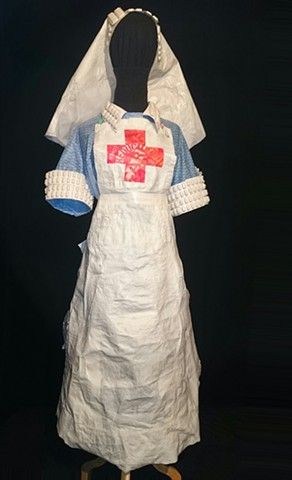 Recycled Nurse. Made from old  plastic bags and pill packets.