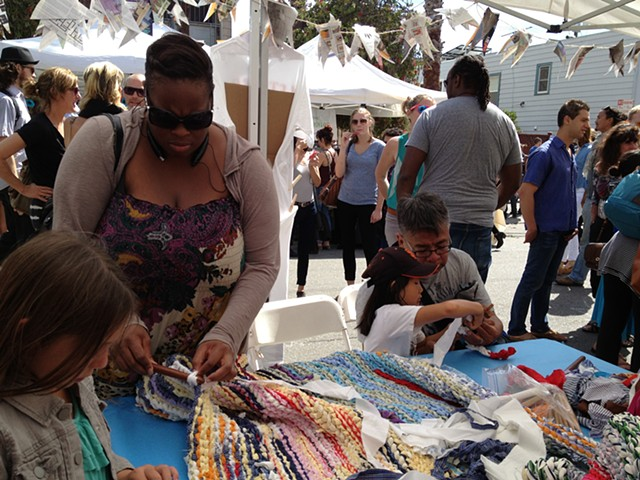 Crochet Jam at the 20th Street Block Party, Mission Street, San Francisco