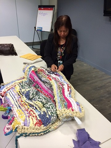 Crochet Jam at San Francisco International Airport (SFO), Lunch & Learn Program, Health, Safety & Wellness Department—to relieve stress and foster creativity in the workplace