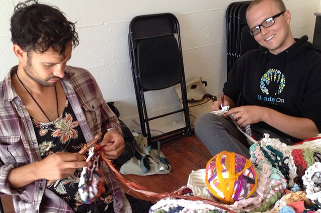 Crochet Jam, Root Division, San Francisco with participants A'ron Correa and Aaron Grobler