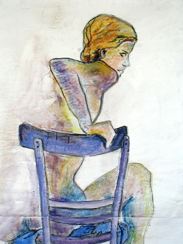 painting of seated nude in blue chair by Eugenia Mitsanas