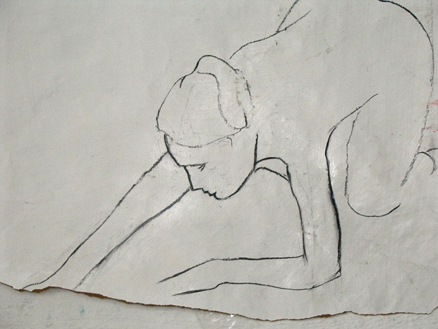 charcoal drawing of stretching female nude by Eugenia Mitsanas
