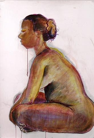mixed media painting of seated nude by Eugenia Mitsanas