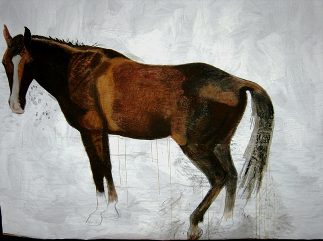 life-size painting of light bay horse by Eugenia Mitsanas