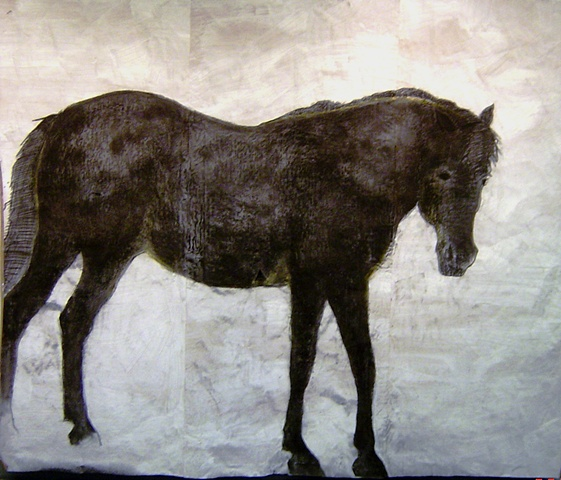 life-size painting of black horse by Eugenia Mitsanas