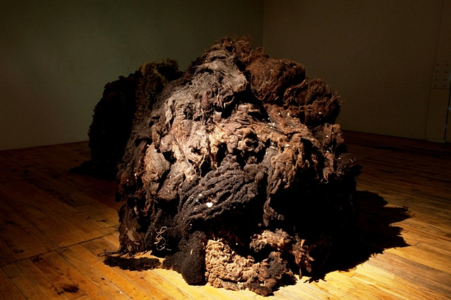 """raw wool sculpture in MFA graduate exhibition installation environment from """"When the Barn Burns Down..."""" by Eugenia Mitsanas"""