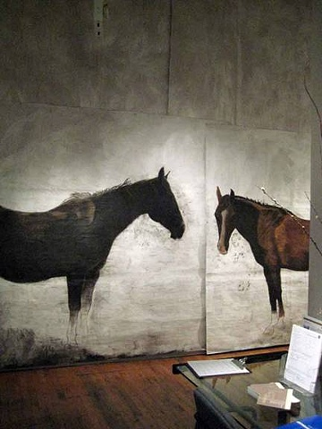 "life-size paintings of horses for an installation environment ""Point Reyes Station 4:10 p.m."" by Eugenia Mitsanas"