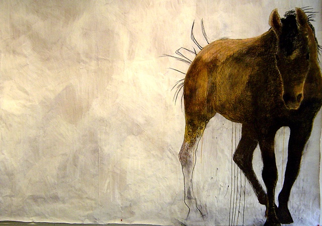 life-size painting of bay horse by Eugenia Mitsanas