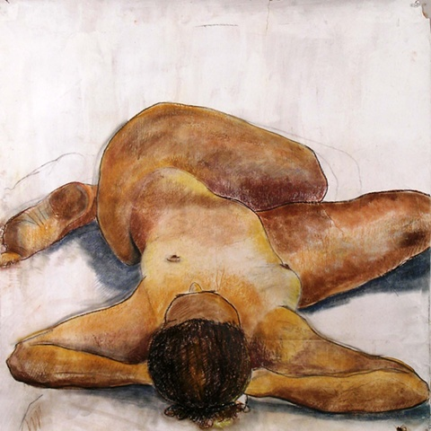 painting of reclining nude by Eugenia Mitsanas