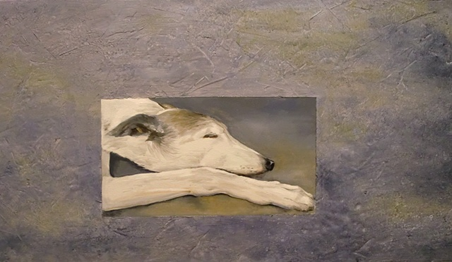retired racing greyhound/retired therapy dog painting