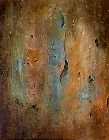 Abstract art incorporating mixed media using copper leaf. Perfect addition to any contemporary decor. or
